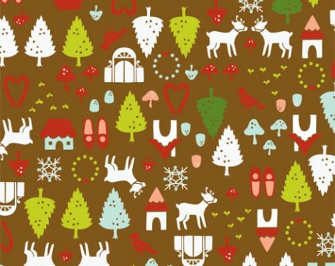 Alexander Henry Fabric - North Pole Ditzy Green Christmas Cotton Woven Fabric