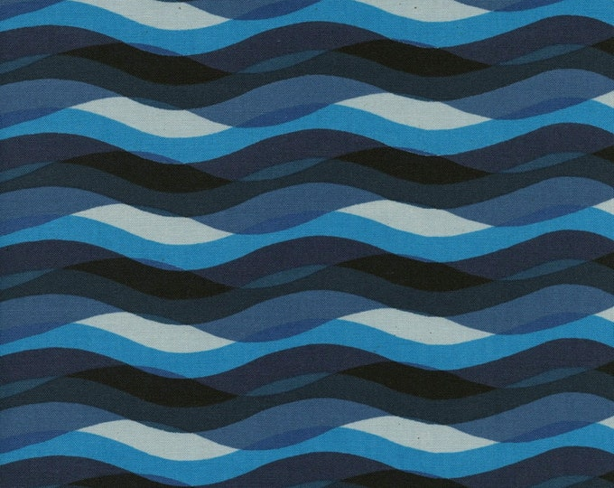 Poolside Waves in Blue cotton fabric by Cotton + Steel