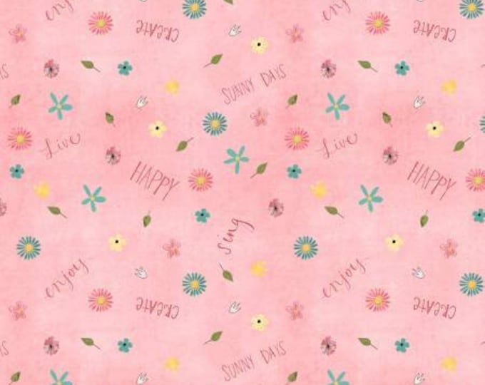 On The Road Again Pink Floral Daisy Cotton Woven