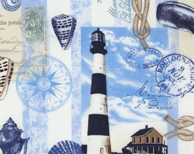 Timeless Treasures - Neutral Nautical Postcard Toile #C6656-NEUT Cotton Woven Fabric
