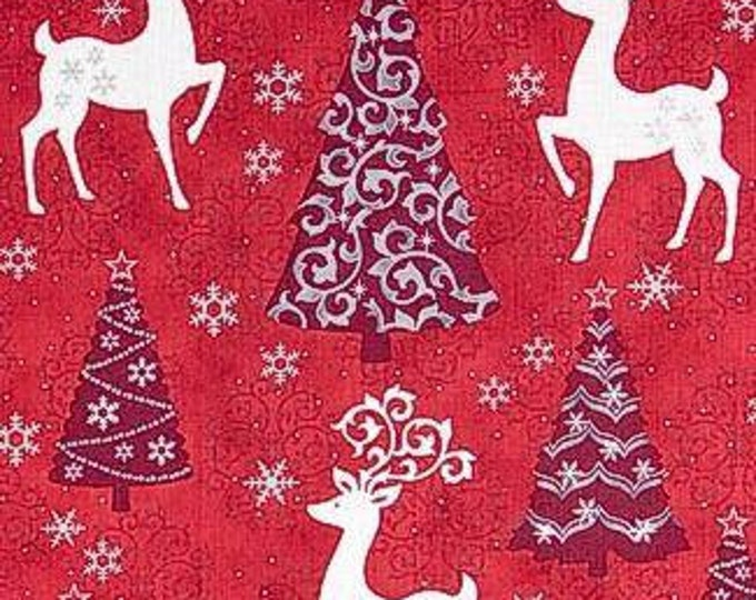 Quilting Treasures - Celebrate the Season - Reindeer on Red Cotton Woven Fabric