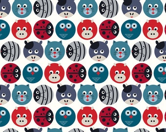 Stof Fabrics - Avalana Knits - Circles with Heads of Animals, Birds & Insects in Multi Colors on Off-White - 19-188 - Cotton/Spandex Knit