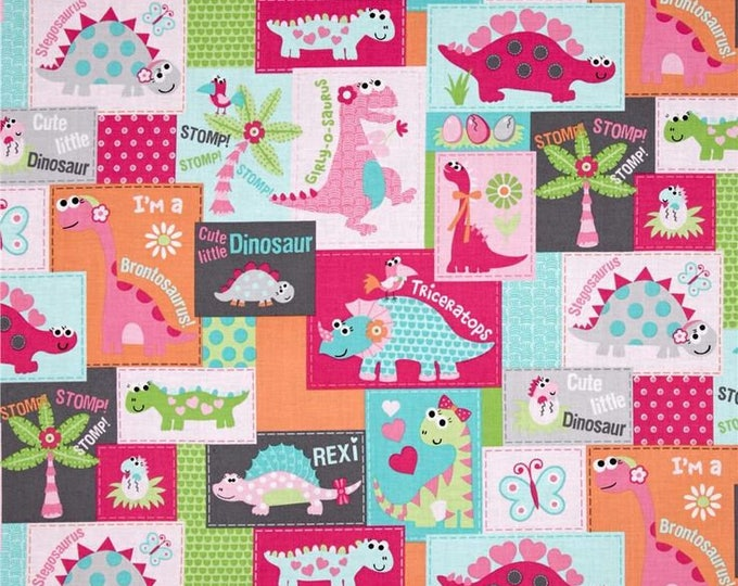 Girly O Sauraus, Dinosuars in pink and Turquoise Cotton Woven