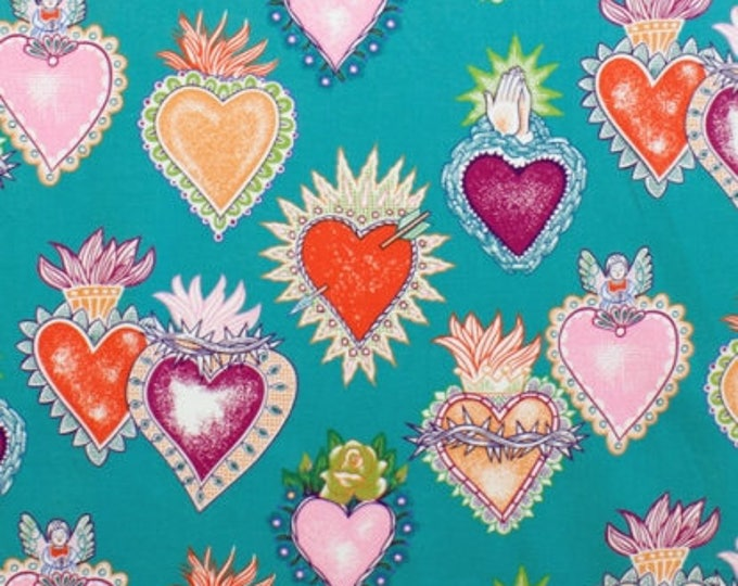 Alexander Henry Fabrics - Folklorico Alma y Corazon -8282B (Teal) Cotton Woven