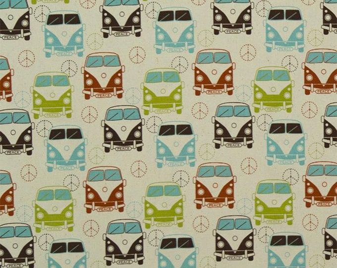 The Most Love Bus Natural 100% Cotton Woven Fabric, 53/54 Inches wide