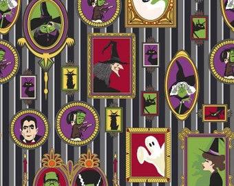 Riley Blake Fabric - Haunted House -  Main Print on Black Cotton Fabric Woven