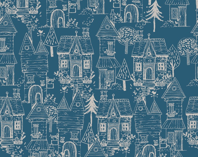 Fabric Editions  - Little Thicket - Houses Cotton Woven Fabric #14533-NAVY