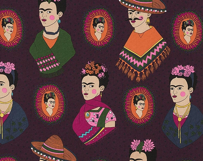 Alexander Henry Fabric - Fantastico Frida - Eggplant - Cotton Woven Fabric