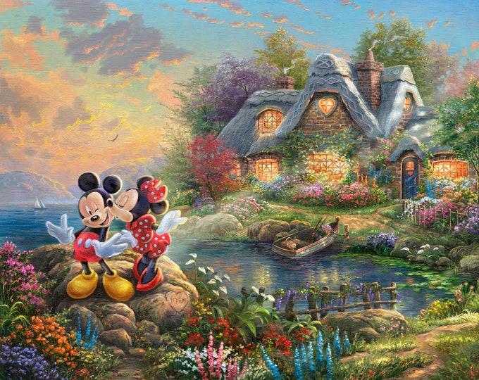 "David Textiles - Disney Dreams Collection by Thomas Kinkade Studios - 36"" Panel Sweetheart Cove DS-2022-9C - Cotton Woven Fabric"