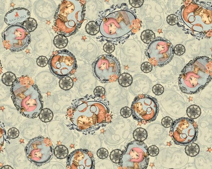 Quilting Treasures - Santoro Adrift - Mermaid tossed Light Sage cotton woven fabric
