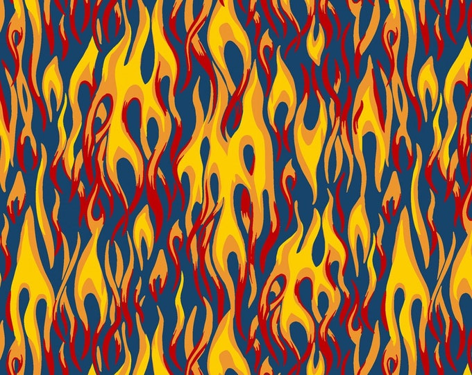 Windham Fabric - Monster Truck by Whistler Studios - Flames Blue #51268-2 Cotton Woven Fabric