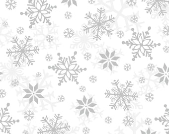 Henry Glass Fabrics - Winter Whimsy Flannel - White:Grey Snowflakes Flannel # F1624-09 - 100% Cotton Flannel