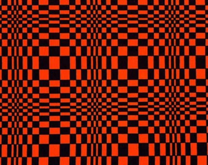 Robert Kaufman Fabrics - Black & Orange Optical Illusion Sydney Jersey Knit Fabric