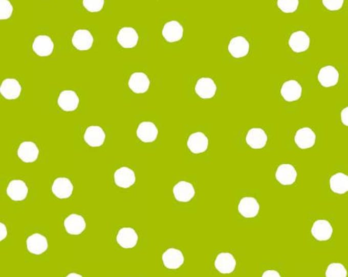 Happy Campers Tipsy Dot Green cotton fabric by Loralie Designs