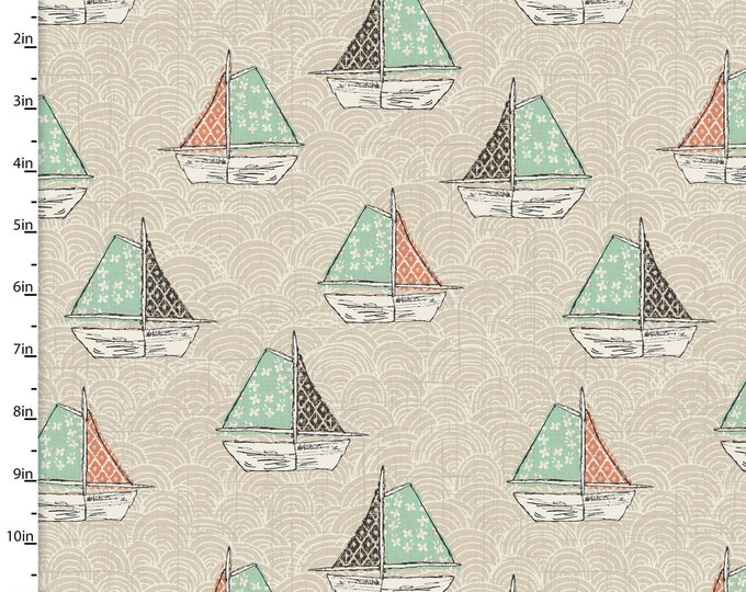 3 Wishes Fabrics - Give Me the Sea - Sailboats - Cotton Woven Fabric