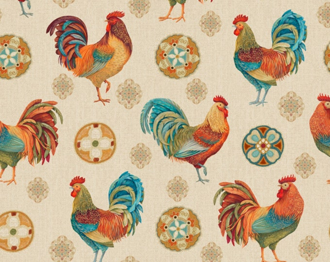 CLEARANCE -     David Textiles -  1 Yard PreCuts - Rooster Medallion -  Cotton Woven Fabric
