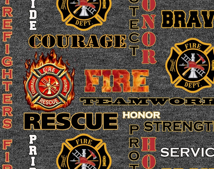 Heather Grey Fire Fighter Seal Cotton Woven # FIREFIGH-1181