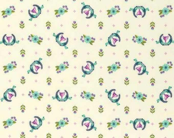 Tula Pink - Slow and Steady - Blue Raspberry Winner's Circle on Cream Cotton Woven Fabric