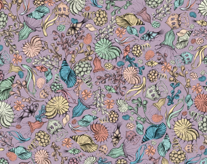 Quilting Treasures -  Midnight Garden by Mirabelle - Licensed by Santoro - Lilac Packed Flowers 26944L Cotton Woven Fabric