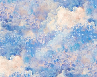 3 Wishes Fabric - Ray of Hope by Josephine Wall - Clouds Digitally Printed # 16050-BLU - Cotton Woven Fabric