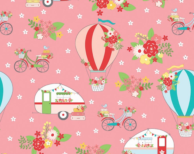 Riley Blake - Vintage Adventure   - Main Pink c7270 - Cotton Woven Fabric