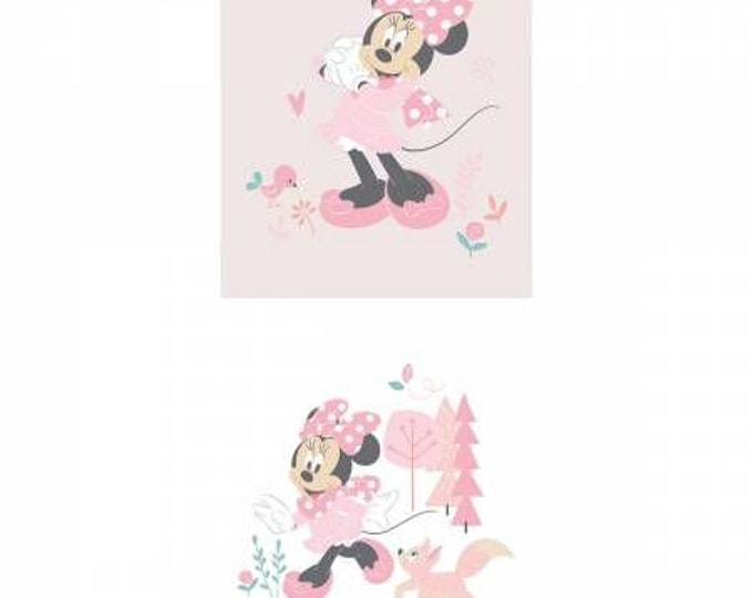 "Camelot Fabrics  - Mickey and Minnie in the Meadow - 18"" Panel Minnie Little Meadow in Pink #85270408P Cotton Woven Fabric"
