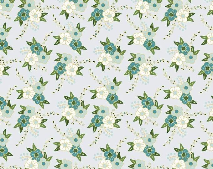 SALE !!! Wonderland Blue Floral Cotton Woven, Riley Blake  - Price per yard !