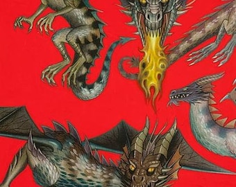 Alexander Henry Fabric - Tale of the Dragon Red cotton woven fabric