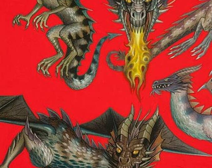Tale of the Dragon Red cotton woven fabric by Alexander Henry