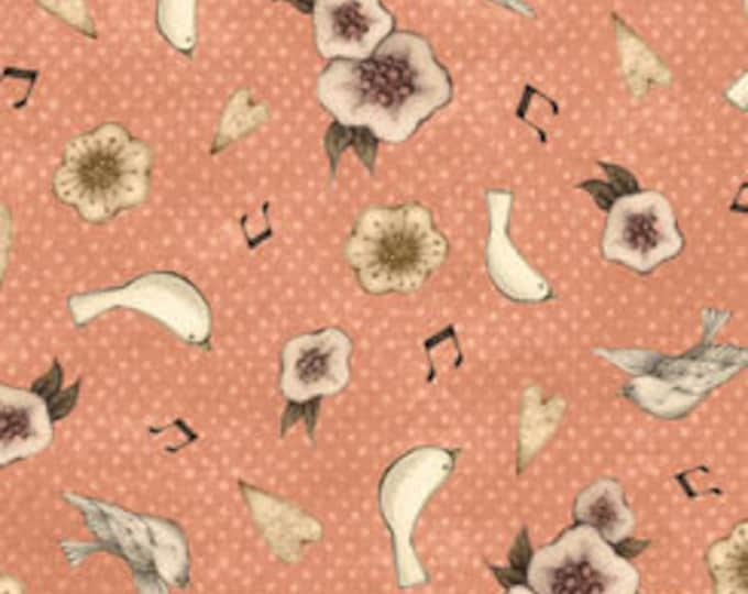 Quilting Treasures - Santoro Gorjus - Mirabelle, Lost Song, Flower & Dove Toss - Coral - Cotton Woven Fabric