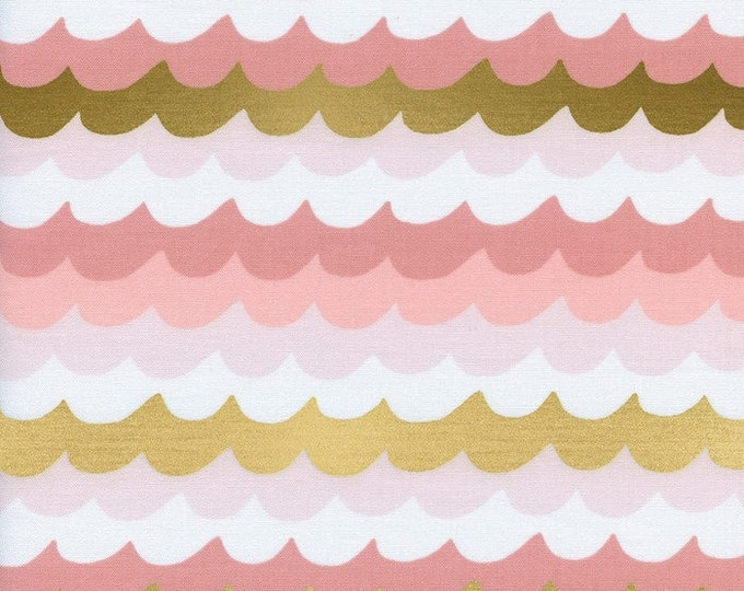 Cotton + Steel Fabric - Amalfi by Rifle Paper Co - Waves Coral Metallic Gold cotton fabric