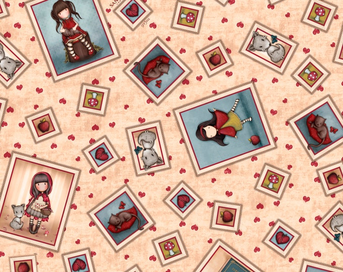 Quilting Treasures - My Story Licensed Santoro - Tan Character Toss 27141-A - Cotton Woven Fabric
