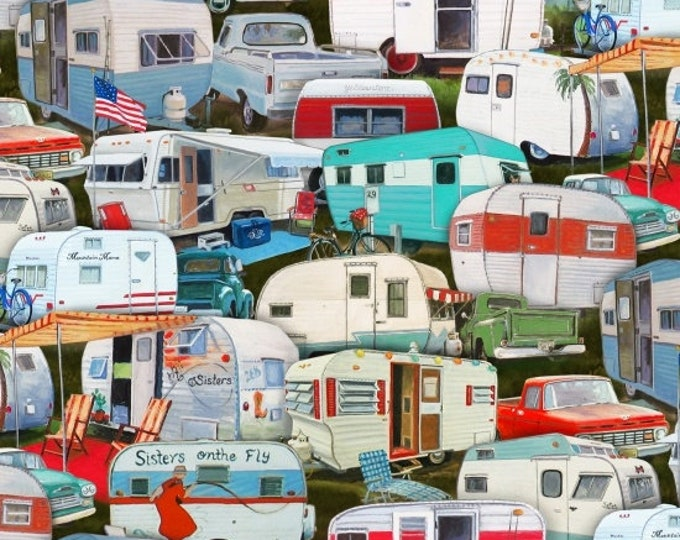 Elizabeth Studios - Vintage Trailers Packed Camping Cotton Fabric