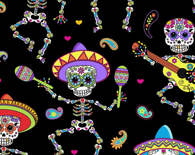 Timeless Treasures - Dancing Day of the Dead on Black Cotton Woven