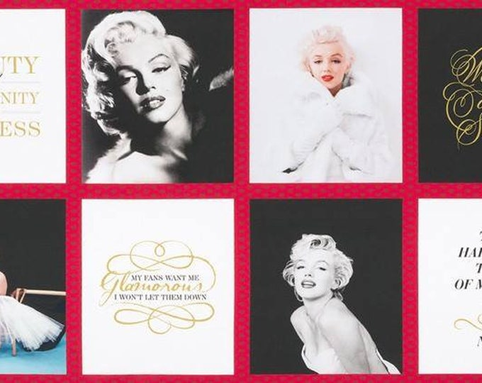 Marilyn Monroe Blocks 24 inch panel Cotton Woven by Robert Kaufman