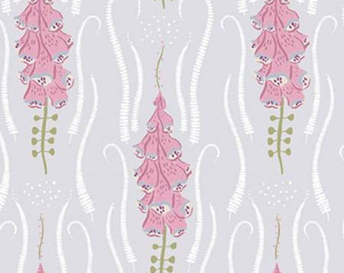 Nickel Foxglove Floral,  Garden Sanctuary by Rae Ritchie Collection Cotton Woven