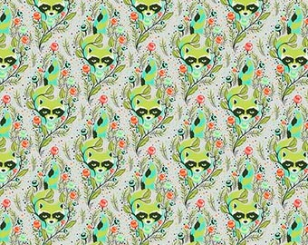 Tula Pink -  All Stars -  Agave Raccoon Cotton Woven Fabric