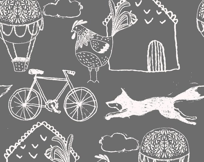 Fabric Editions  - Little Thicket - Foxes w/Bikes Cotton Woven Fabric #14528-GRAY