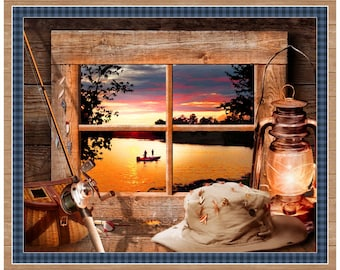 "Quilting Treasures Fabric - Artworks XI -  Sunset Lake #26983X by Jim Todd 36"" X 44"" Digital Panel Cotton Woven Fabric"