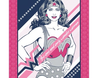 """Camelot Fabric - Wonder Woman - The One and Only Wonder Woman 36"""" Panel Cotton Woven Fabric"""