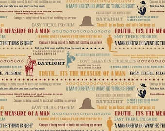 Riley Blake Designs - Licensed John Wayne - Quotes Tan #C8575-TAN Cotton Woven Fabric