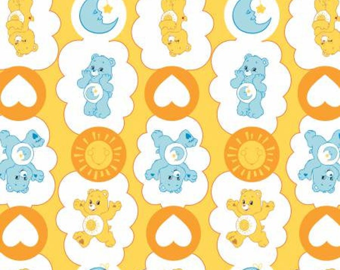 Camelot Fabrics - Licensed Care Bears -  Funshine & Bedtime Bear on Yellow Cotton Woven Fabric