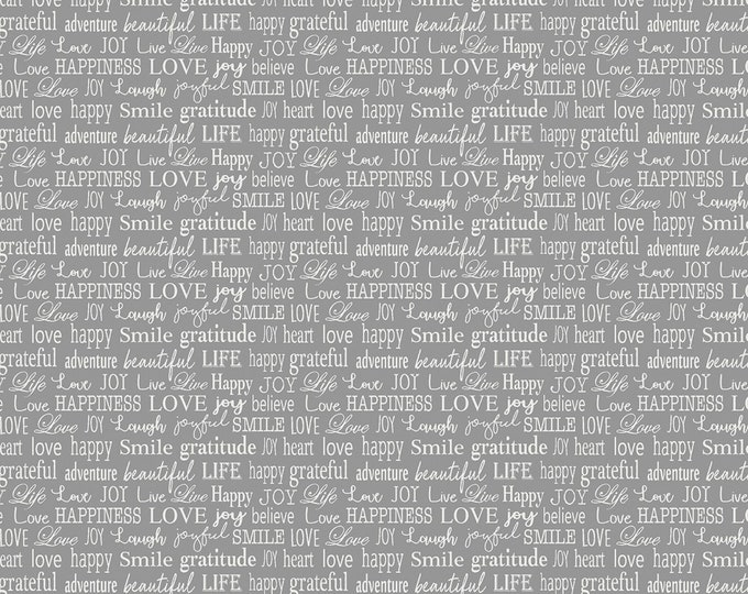 Words to Live By - Gray Tiny Words - Cotton Woven Fabric - Benartex