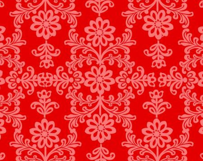 David Textiles - Red and Pink Frida's Damask  Cotton Woven Fabric