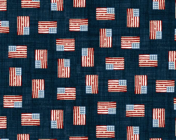 Road Trip by All American Road Trip - Mini Flags - Navy - Cotton Woven Fabric - Studio E - 4321-77