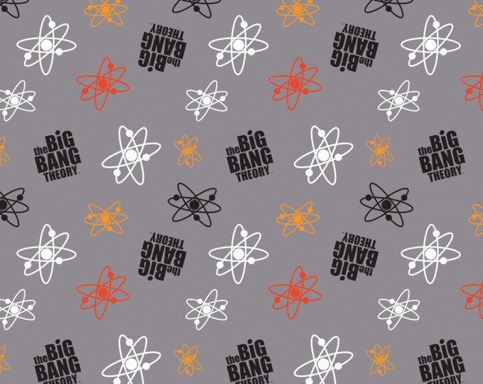 Big Bang Theory - Atoms on Gray - Cotton Woven Fabric - Camelot