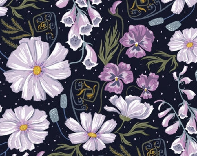Dear Stella - Ghostwood by Rae Ritchie - Ghost Florals on Astral Stella-SRR1332-Astral - Cotton Woven Fabric