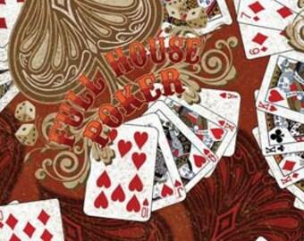 CLEARANCE - KANVAS - Wild West Casino fabric full house cotton fabric - price per yard
