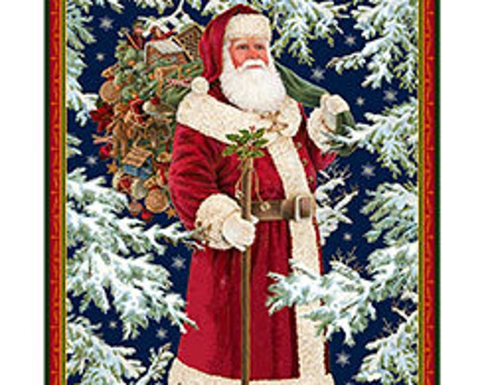 "Quilting Treasures - Christmas Eve - Vintage Santa 36"" Metallic Cotton Woven Fabric Panel"