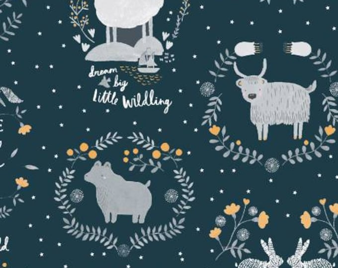 Dear Stella Eclipse, Stay Wild on Navy cotton fabric